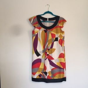Nine West short sleeve multicolor patterned dress!
